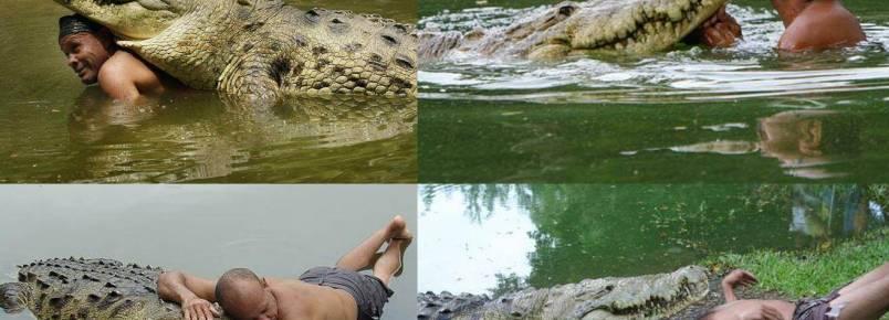 A surpreendente amizade entre um homem e um crocodilo
