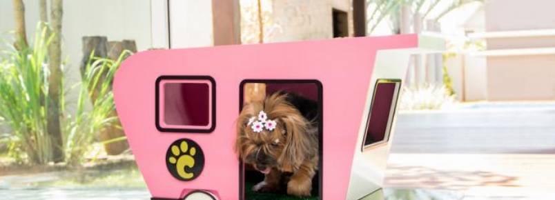 Casinha para cães em formato de trailer