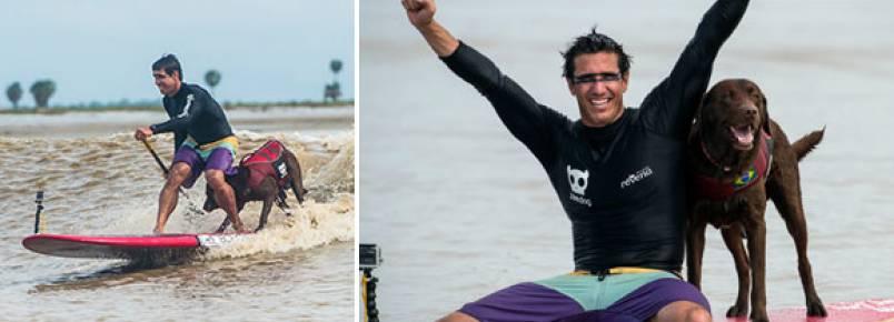Surfista brasileiro e seu cachorro batem recorde mundial de Stand Up Paddle