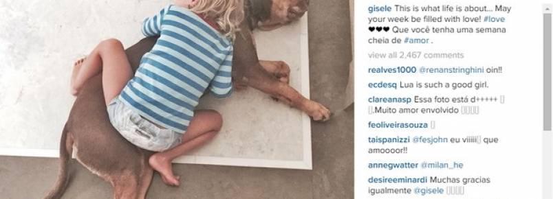 Gisele Bündchen compartilha foto da filha em momento fofíssimo
