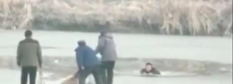 Homem arrisca a própria vida para salvar cachorro que caiu em lago congelado