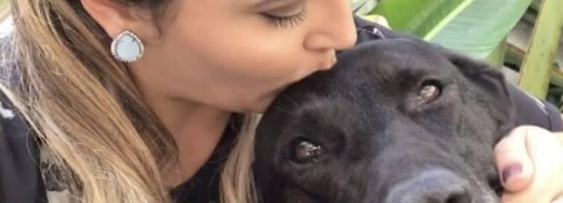 Apresentadora Jéssica Leão se apaixona por Negão, o cão frentista