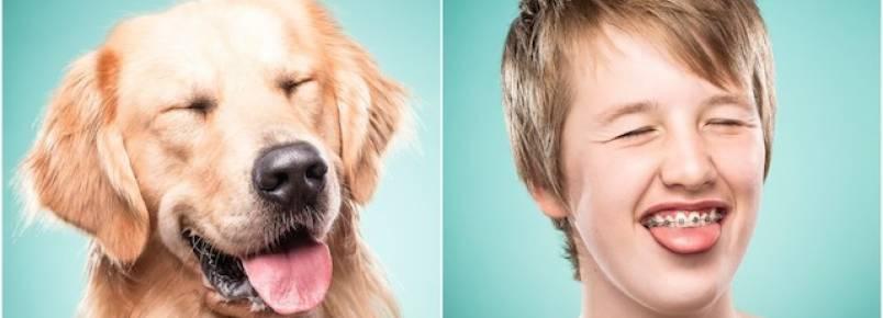 Fotógrafa captura tutores imitando a expressão facial de seus cães